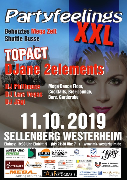 Party Flyer: PARTYFEELINGS XXL 11.10.19 Westerheim am 11.10.2019 in Westerheim