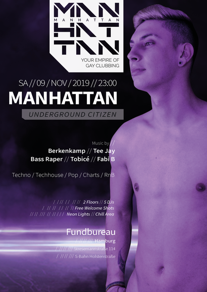 Party Flyer: MANHATTAN - Underground Citizen am 09.11.2019 in Hamburg